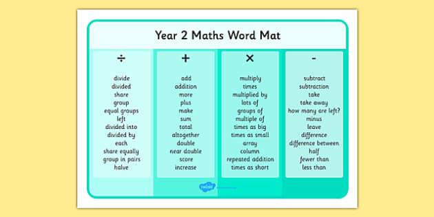 Year 2 Maths Operations Word Mat - year 2, maths, operations, word mat, word, mat