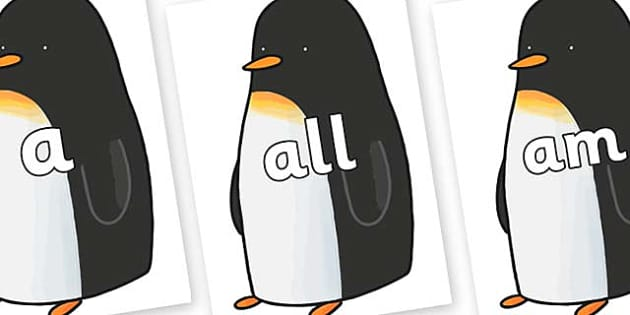 Foundation Stage 2 Keywords on Penguin to Support Teaching on Lost and Found - FS2, CLL, keywords, Communication language and literacy,  Display, Key words, high frequency words, foundation stage literacy, DfES Letters and Sounds, Letters and Sounds,