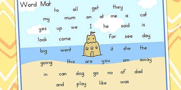 Seaside Themed Foundation Kindergarten Word Mat - seaside, mat