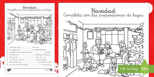 Las preposiciones de lugar: Navidad - Esta ficha refuerza las preposiciones de lugar con una escena navideña., Spanish
