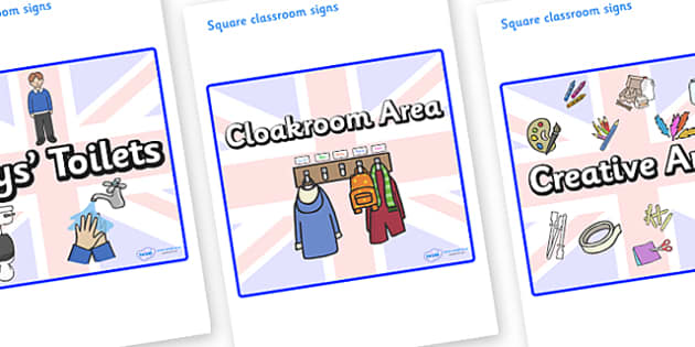 Great Britain Themed Editable Square Classroom Area Signs (Plain) - Themed Classroom Area Signs, KS1, Banner, Foundation Stage Area Signs, Classroom labels, Area labels, Area Signs, Classroom Areas, Poster, Display, Areas