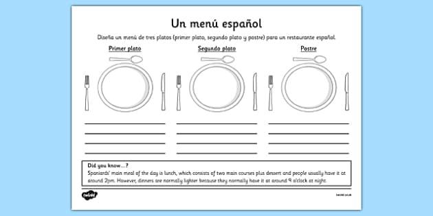 Ficha Diseña un menú - spanish, menu, menú, design, worksheet, ficha, comida, meal