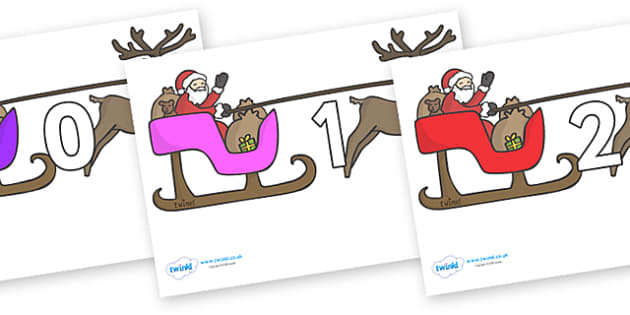 Numbers 0-31 on Sleighs - 0-31, foundation stage numeracy, Number recognition, Number flashcards, counting, number frieze, Display numbers, number posters