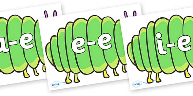 Modifying E Letters on Fat Caterpillars to Support Teaching on The Very Hungry Caterpillar - Modifying E, letters, modify, Phase 5, Phase five, alternative spellings for phonemes, DfES letters and Sounds