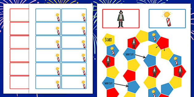 Bonfire Night Themed Editable Board Game - games, fireworks