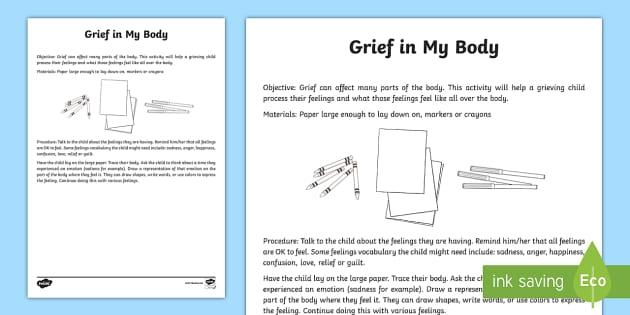 Grief In My Body Activity - grief, trauma, tragedy