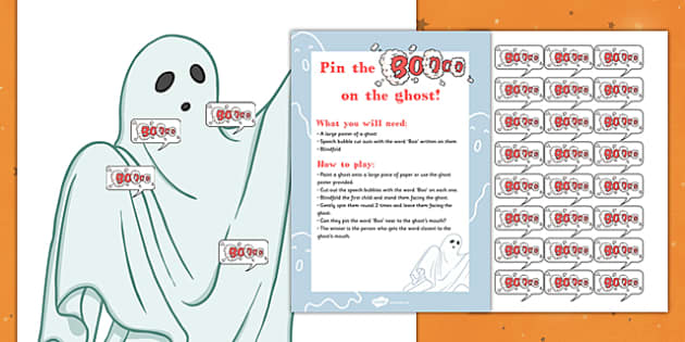 Pin the Boo on the Ghost Halloween Party Game and Resource Pack - displays, resources, ks1, early years, fun, activity