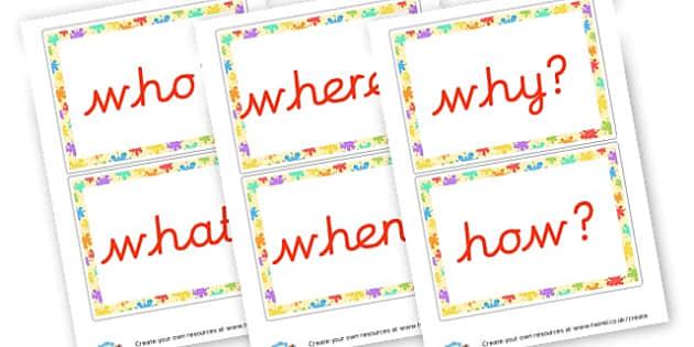 Cursive Question Words - Question Words Primary Resources, question, interrogative, words