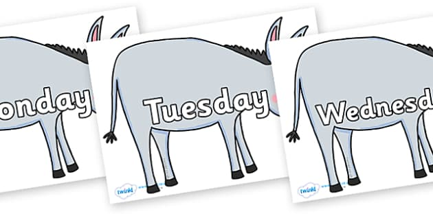 Days of the Week on Hullabaloo Donkey to Support Teaching on Farmyard Hullabaloo - Days of the Week, Weeks poster, week, display, poster, frieze, Days, Day, Monday, Tuesday, Wednesday, Thursday, Friday, Saturday, Sunday