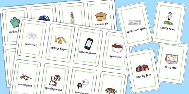 Three Syllable SP Flash Cards - sp, syllable, sen, sound, flash cards