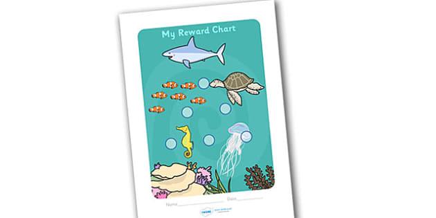 Under The Sea Sticker Reward Chart (15mm) - Under the sea sticker Reward chart (15mm), under the sea, reward chart, chart, reward, 15mm, 15 mm, stickers, twinkl stickers, award, certificate, well done, behaviour management, behaviour, Under the sea,