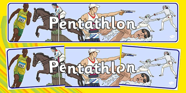 The Olympics Pentathlon Display Banner - Pentathlon, Olympics, Olympic Games, sports, Olympic, London, 2012, display, banner, poster, sign, activity, Olympic torch, events, flag, countries, medal, Olympic Rings, mascots, flame, compete