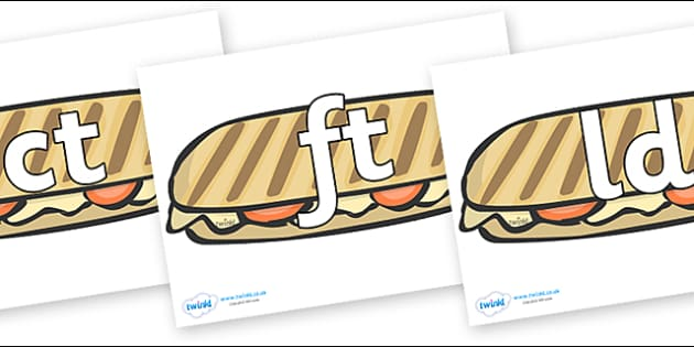 Final Letter Blends on Paninis - Final Letters, final letter, letter blend, letter blends, consonant, consonants, digraph, trigraph, literacy, alphabet, letters, foundation stage literacy
