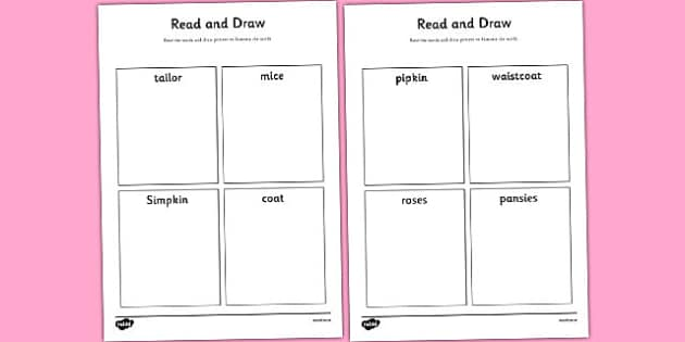 The Tailor of Gloucester Read and Draw Worksheet - tailor, read
