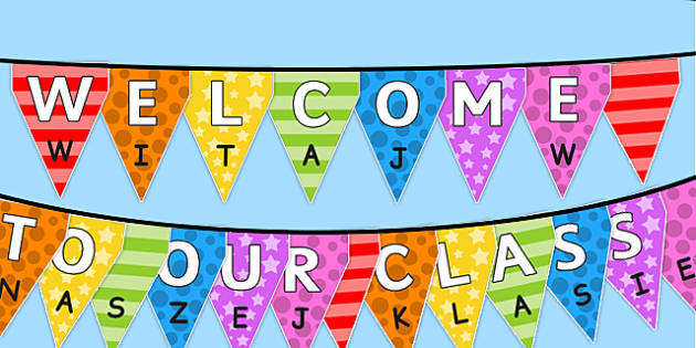 Welcome to Our Class Bunting Multicoloured Polish Translation - polish, welcome, class, bunting