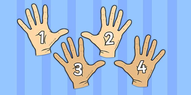Numbers on Hands Peg Labels - numbers, hands, peg labels, labels