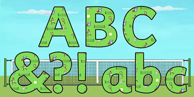 Wimbledon Display Lettering - sports, pe, tennis, sport, letters