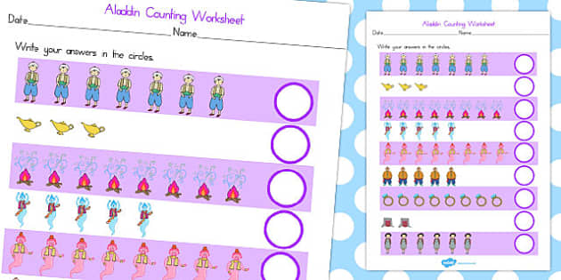 Aladdin Counting Worksheet - worksheets, count, numbers, number