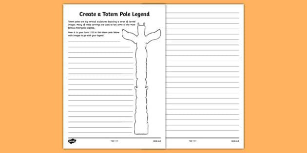 Totem Pole Legend Activity Sheet - canada, totem pole, legend, activity sheet, activity, worksheet