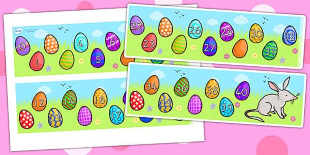 Missing Number Number Line 0 40 Easter - number line, easter, RE