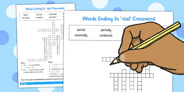Words Ending in -tial Crossword - tial, crossword, ending, words
