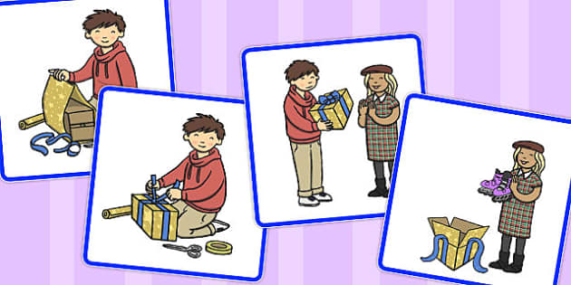 Sequencing Cards Wrapping a Present - present, sequencing, cards
