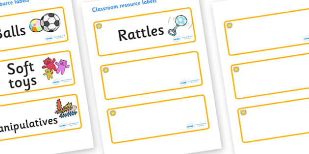 Sunshine Themed Editable Additional Resource Labels - Themed Label template, Resource Label, Name Labels, Editable Labels, Drawer Labels, KS1 Labels, Foundation Labels, Foundation Stage Labels, Teaching Labels, Resource Labels, Tray Labels, Printable