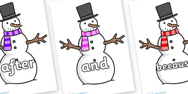 Connectives on Snowman - Connectives, VCOP, connective resources, connectives display words, connective displays