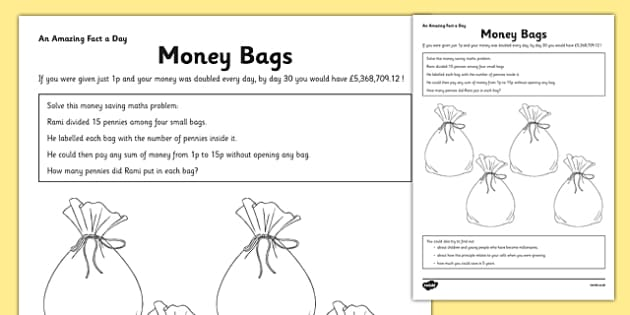 Money Bags Activity Sheet - money, problem solving, money bags, activity, worksheet