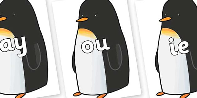 Phase 5 Phonemes on Penguin to Support Teaching on Lost and Found - Phonemes, phoneme, Phase 5, Phase five, Foundation, Literacy, Letters and Sounds, DfES, display