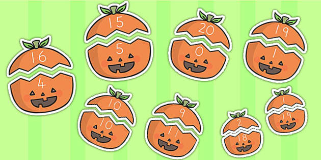 Halloween Number Bonds to 20 on Pumpkins - halloween, halloween number bonds, pumpkin number bonds, halloween counting, halloween numeracy, addition, 0-20