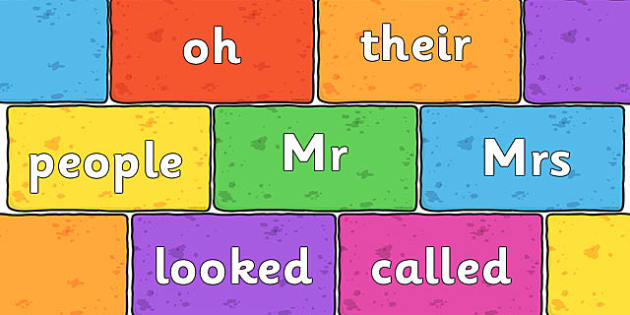 Phase 5 Tricky Words on Multicoloured Bricks - phase five, words