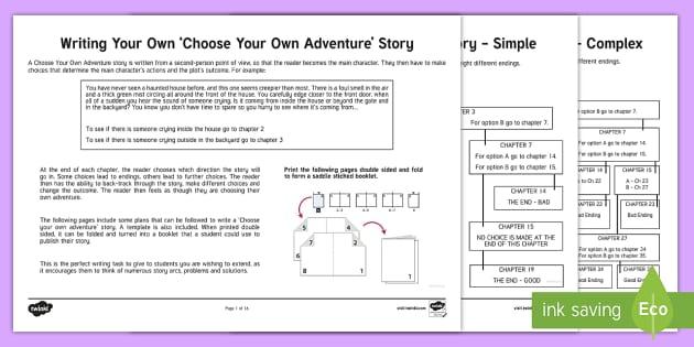 Choose your Own Adventure Writing Activity Sheets - Writing, adventure writing, choose your own adventure,Australia, worksheet, design, template