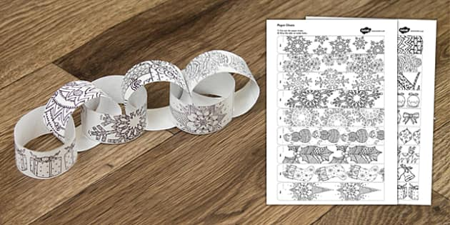 Christmas Mindfulness Colouring Paper Chain - christmas, mindfulness, colouring, paper chain