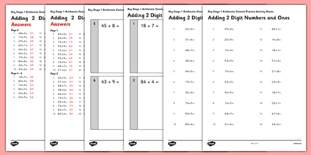 KS1 Arithmetic Content Practice Activity Sheet Pack Adding 2 Digit Numbers to Ones - Maths, KS1, Key Stage 1, Arithmetic, addition, subtraction, two-digit, tens, ones, add, subtract, worksheet