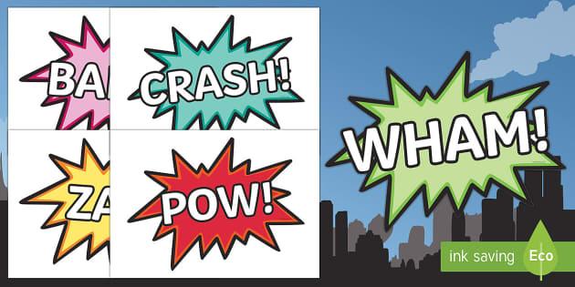 Comic Superhero Word Cut-Outs - comic, superhero, word, cut outs