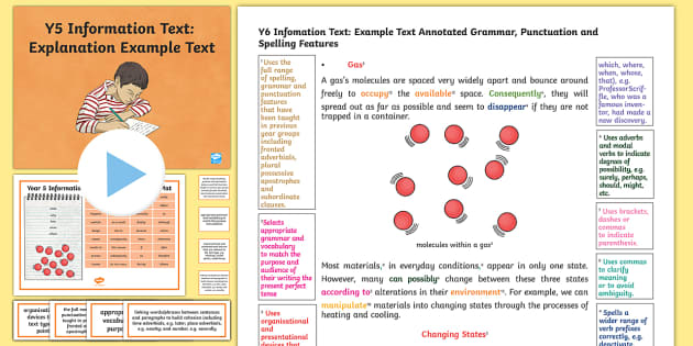 Y5 Information Texts: Explanation Model/Example Text - Example Texts Y5, model, WAGOLL, sample, exemplar, explanation, states of materials, annotation, ann, ARE, age-related example, model, model text, age-related model