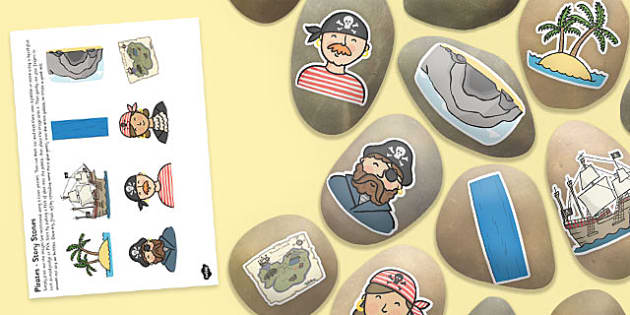 Pirate Themed Story Stone Image Cut Outs - pirate, story stone, image