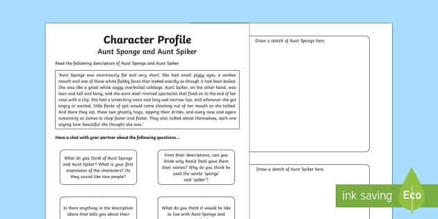 Character Profile to Support Teaching on James and the Giant Peach