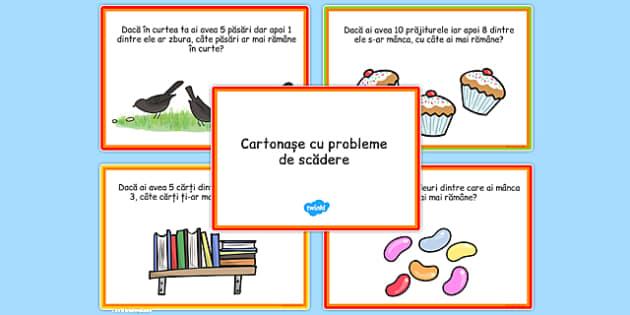Cartonașe cu probleme de scădere - Probleme ilustrate