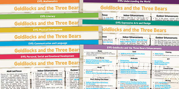 Goldilocks and the Three Bears EYFS Lesson Plan and Enhancement Ideas - lessons