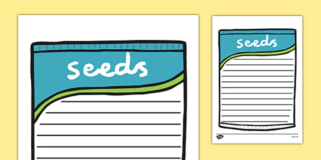 Seed Packet Writing Frame - seeds, plants, flowers, growth, write