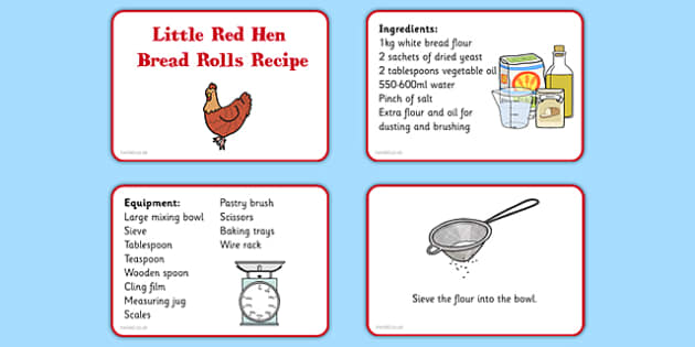 Little Red Hen Recipe Cards - EYFS planning, Early years activities, traditional tales, baking, food