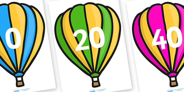 Counting in 20s on Hot Air Balloons (Stripes) - Counting, Hot Air Balloon, Numberline, Number line, Counting on, Counting back, even numbers, foundation stage numeracy, counting in 2s