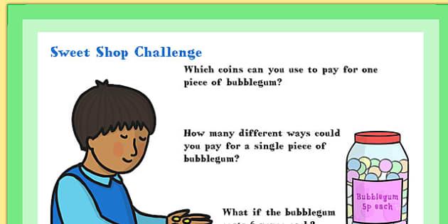 A4 KS1 Sweet Shop Maths Challenge Poster - maths, challenge, ks1