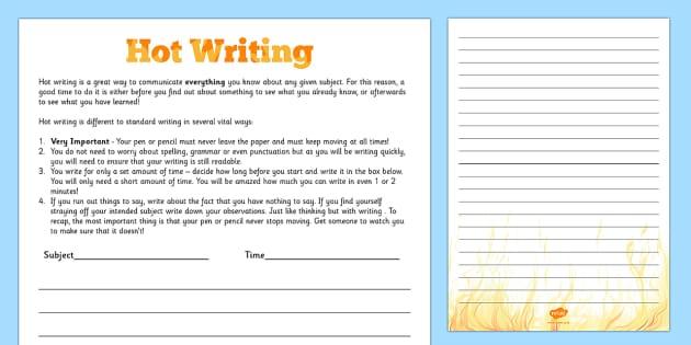 Hot Writing Template - hot writing, hot, writing template, write