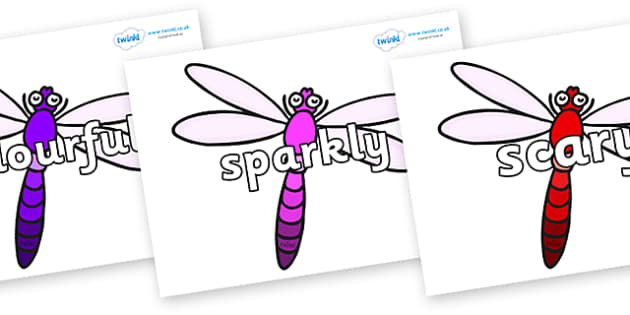 Wow Words on Dragonflies - Wow words, adjectives, VCOP, describing, Wow, display, poster, wow display, tasty, scary, ugly, beautiful, colourful sharp, bouncy