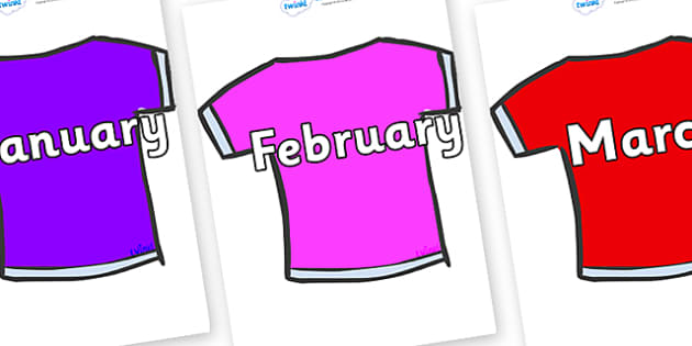 Months of the Year on T-Shirts - Months of the Year, Months poster, Months display, display, poster, frieze, Months, month, January, February, March, April, May, June, July, August, September