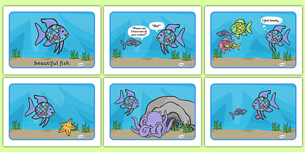 Story Sequencing to Support Teaching on The Rainbow Fish - The Rainbow Fish, Marcus Pfister, resources, Rainbow Fish, PSHE, PSE, octopus, shimmering scales, starfish, friendship, under the sea, sea, story, story book, story book resources, story sequ
