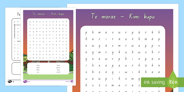 Te marae Differentiated Word Search - marae, wharenui, te reo maori, word search